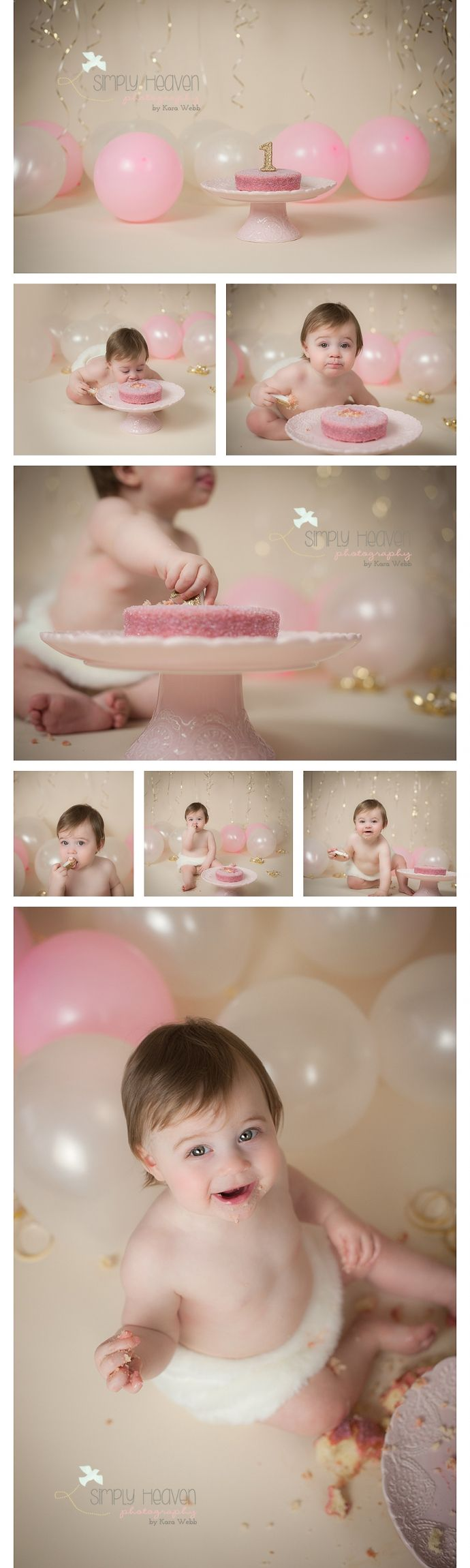 Pink, white, and gold cakesmash colors with balloons and ribbon. Love the pink sparkly cake!  Simply Heaven Photography | Raeford Baby Photographer