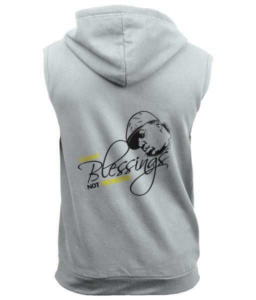 MENS SLEEVELESS HOODIE BIGGIE COUNT BLESSINGS  £31.99 £43.99 Printed artwork Sleeveless zipped hoodie with metal YKK zipper. Twin needle stitching detailing Double fabric hood. Contrast flat white draw cords. Hanging loop at back neck. Kangaroo pouch pocket. Right hand side pocket has small hidden opening for earphone cord feed. Hidden ear phone loops.