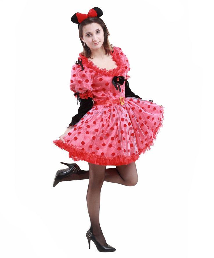 Каждый взрослый хотел бы вернуться в беззаботное детство. Платье Минни-Маус, популярного персонажа - мышки комикса Диснея позволит раскрыть Ваш веселый характер. Костюм состоит из пышного платья и ушек на ободке. Ссылка на товар — http://fas.st/xFg1GA