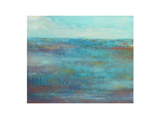 Tableau paysage bleu blanc ciel mer brume marin horizontal