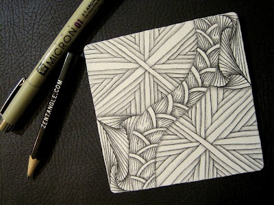 Hurry, Paradox, and Brayd Zentangle tile.