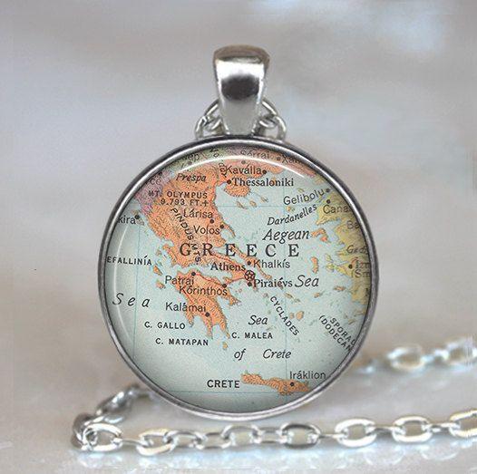 Greece map pendant Greece necklace Greek by thependantemporium