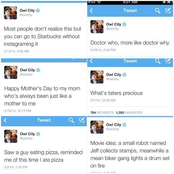 Just a few Owl City tweets.:                                                                                                                                                      More