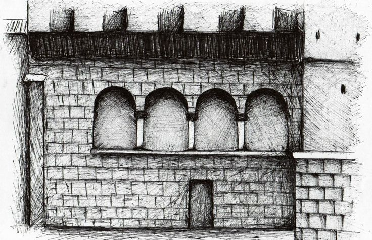 dibujo, blanco y negro, tinta, arco