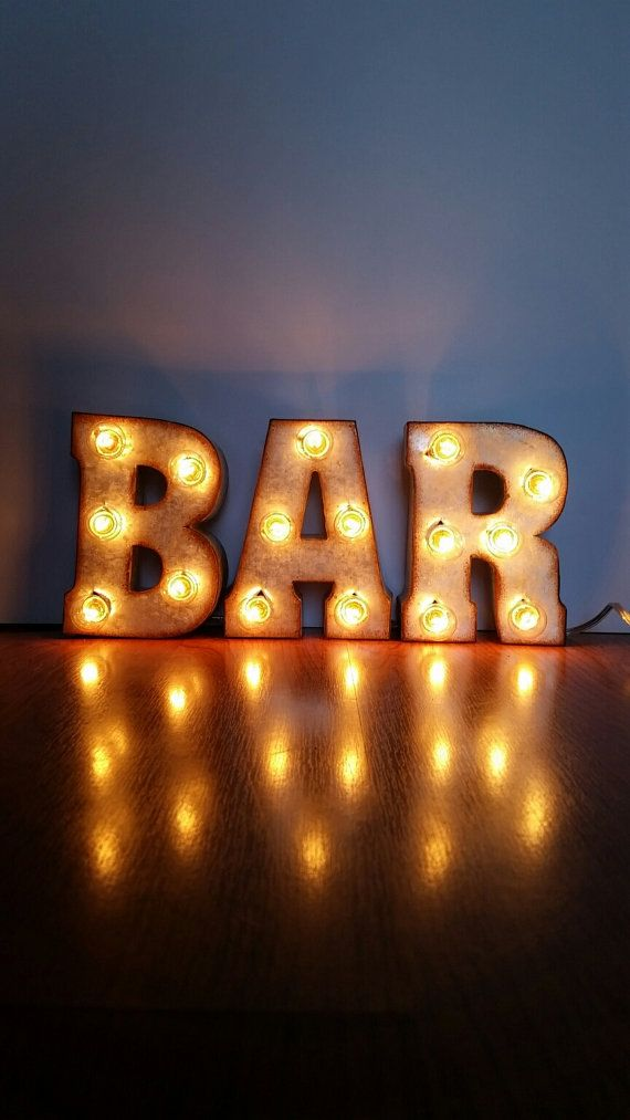 Metal Marquee BAR Sign 7 Letters by marqueemarket on Etsy
