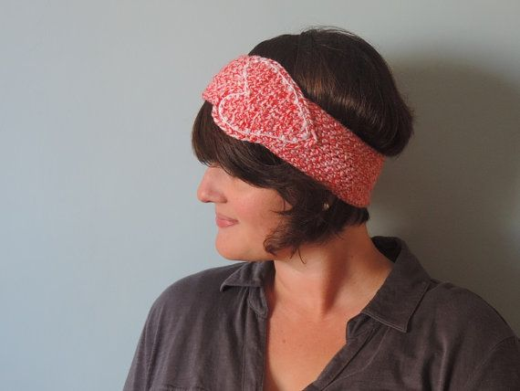 Crochet White and Red Heart Ear Warmer by UnfadingLouise on Etsy, $16.00