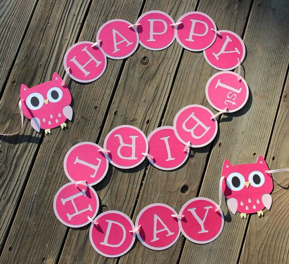 Owl Happy 1st Birthday Banner in Pink