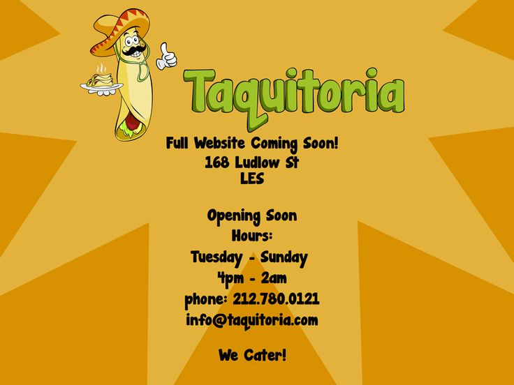 Taquitoria.  Ludlow & Houston, now open!! 3 for $5 or 5 for $8...Mmmmm  http://www.taquitoria.com/taquitoria.html  http://gothamist.com/2013/09/22/taquitoria.php?utm_source=Gothamist+Daily&utm_campaign=71a80c1b13-RSS_EMAIL_CAMPAIGN&utm_medium=email&utm_term=0_73240544d8-71a80c1b13-528373#photo-1