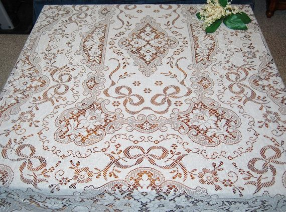 Vintage Tablecloth Bows and Blossoms White by CheekyVintageCloset