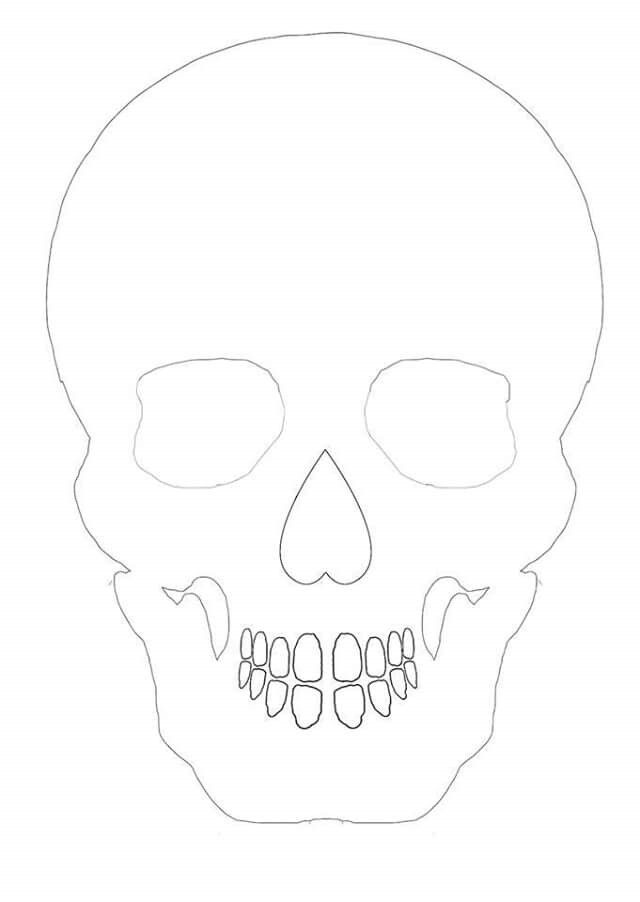 Skull outline for basis of papercut, drawing or colouring - Would be great to use for sugar skulls.