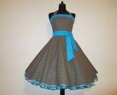 Schönes Kleid in braun mit Punkten in türkis im Stil der 50er Jahre.      In liebevoller Handarbeit angefertigt.