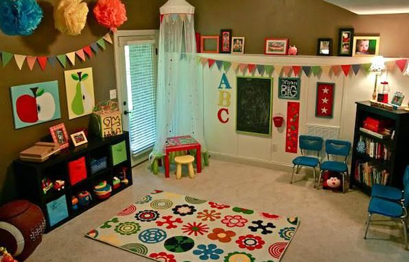 I Love The Wall Decor The Triangles And The Pom Poms Make It A Fun Room In 2020 Kids Room Wall Color Diy Bookshelf Kids Kids Playroom