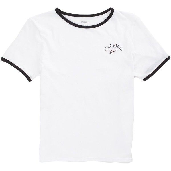 Vans Cool Girls Ringer Tee ($27) ❤ liked on Polyvore featuring tops, t-shirts, shirts, white, vans shirt, vans tee, vans t shirt, cotton shirts and white shirt