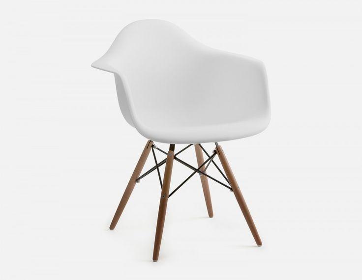 EIFFEL - Chaise à accoudoirs avec base en bois - Blanc
