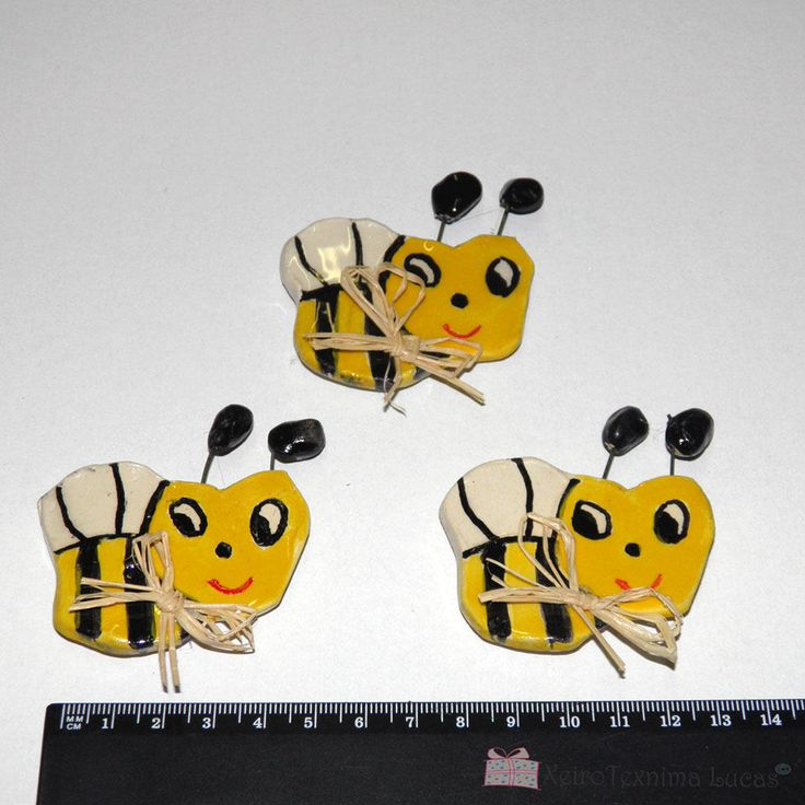 Handmade Ceramic Bees Magnets Gift Wrap Greek Souvenirs, Kitchen Ornament Magnet Smiling Faces by XeiroTexnimaLucas on Etsy