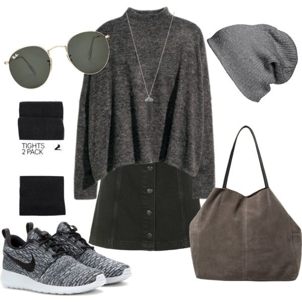#4 - Casual Grey by sannah7 on Polyvore featuring polyvore, fashion, style, Topshop, H&M, NIKE, MANGO, Karen Kane, BP. and Ray-Ban