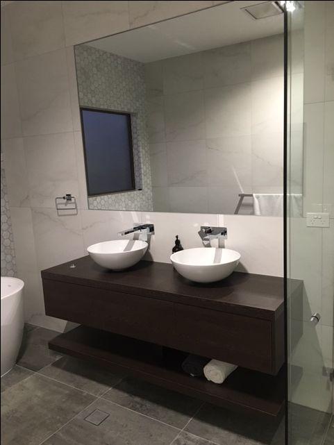 Custom designed bathroom  #Marble #Tiles #timber
