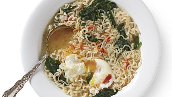 Ramen Noodle Soup with Spinach and Poached Eggs - Recipe - FineCooking