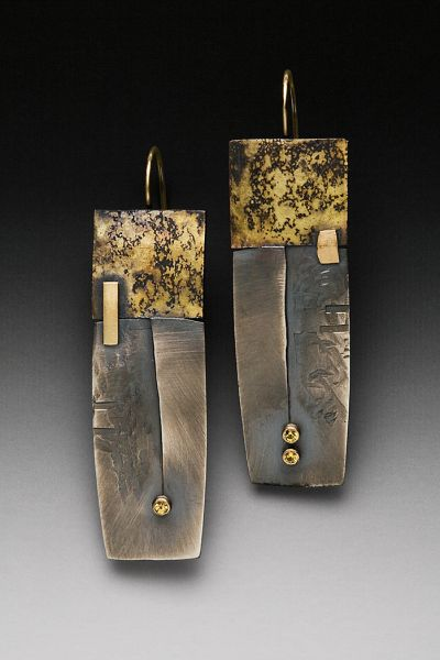 Roger Rimel | Earrings made of sterling silver, 14k gold, fused gold,and sapphires.