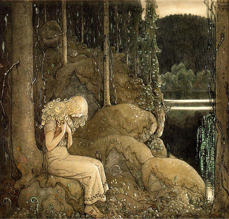 """Illustration by John Bauer for 'En Riddare Red Fram' from """"Bland Tomtar och Troll"""" (1915)"""