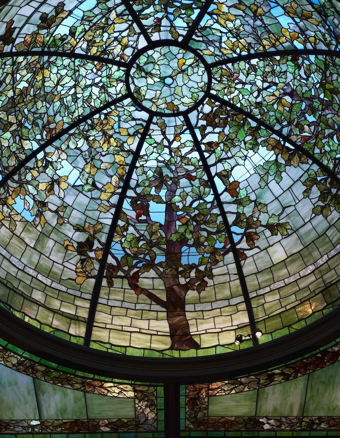 Stained glass dome in the library of the Nickerson Mansion, Chicago, Illinois