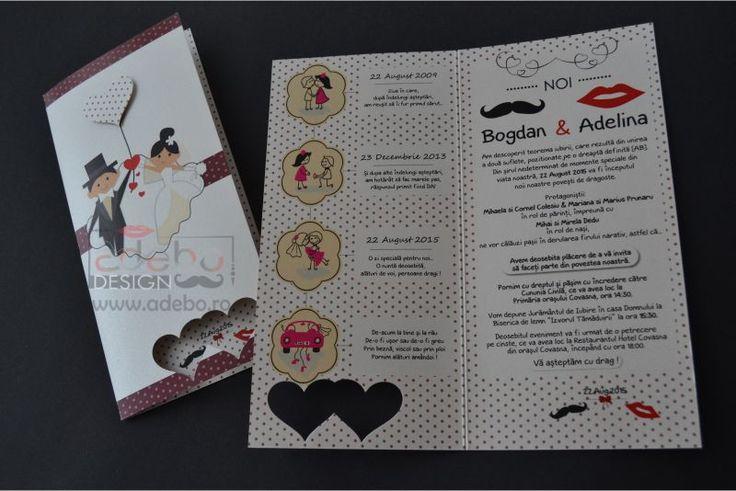 Invitatie nunta Adebo – daca sunteti in cautarea unor invitatii de nunta haioase, noi va recomandam acest model. Animatiile mirilor de pe exteriorul invitatiei cat si povestea relatata pe scurt in interior reusesc sa atraga zambete. Textul invitatiei se poate schimba in totalitate astfel incat sa-l adaptam povestii voastre. Decupajul in forma de inimioara de la baza invitatiei surprinde in mod interesant data evenimentului dumneavoastra.