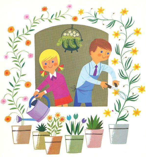 Открытки цветы, дети поливают цветы картинки для детей