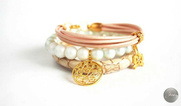 Silky set ; bracelets set by Issi ; leather pearls snake skin