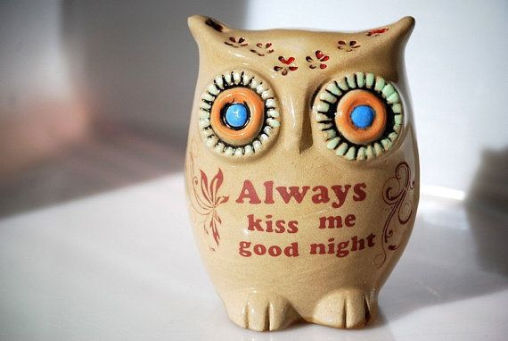 "owl ""always kiss me good night"" home decor ~ so sweet!: Kiss Me, Good Night, Kids Rooms Decor, Handmade Ceramic, Goodnight Owl, Owl Decor, Home Decor, Owl Obsession, Always Kiss"
