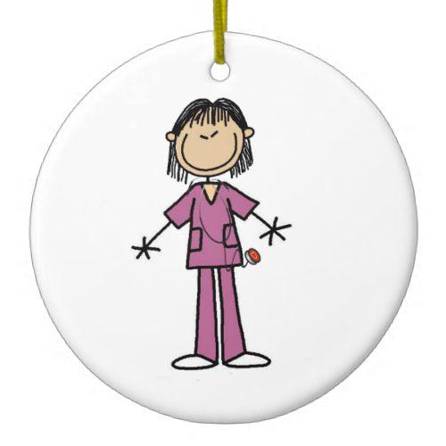Asian Female Stick Figure Nurse Christmas Ornaments