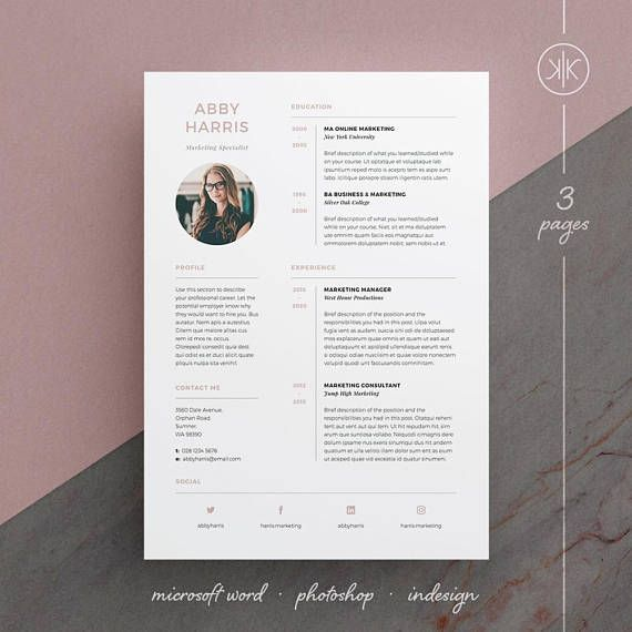 Abby Resume Cv Template Word Photoshop Indesign Etsy Resume Design Resume Design Creative Cv Template Word