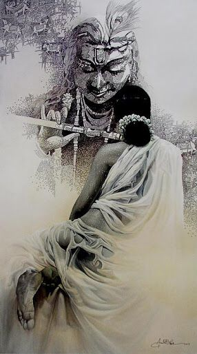 Wet lady and krishna black and white