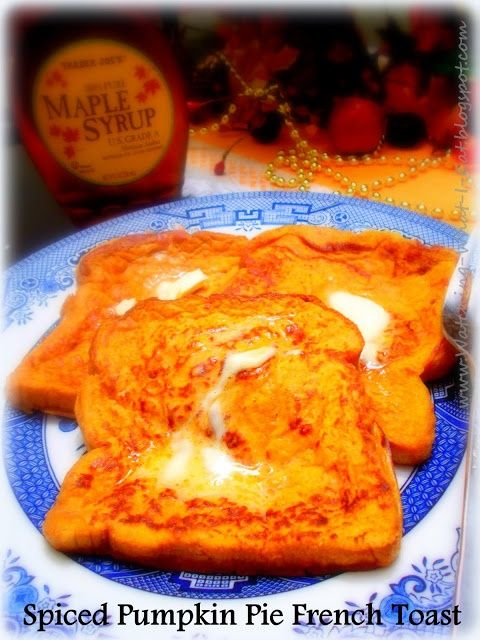 Spiced Pumpkin Pie French Toast-3 large eggs 1/2 cup canned pumpkin pie filling* 3 Tbsp milk 1/2 tsp cinnamon 6-8 slices of your favorite bread cooking spray/Pam favorite syrup butter or margarine