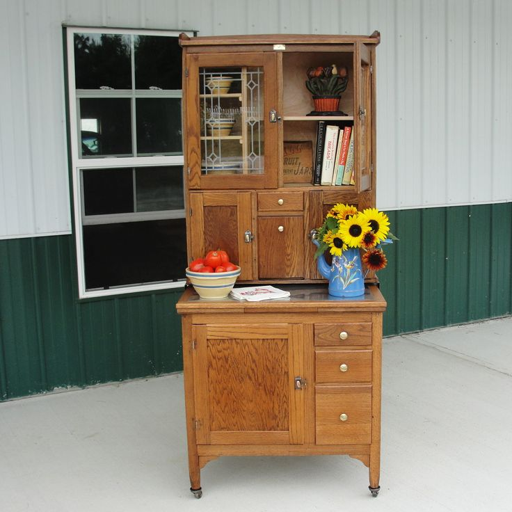 Small Hoosier Style Cabinet Made By Boone Dressed Up With Vintage Yellow Ware And Graniteware