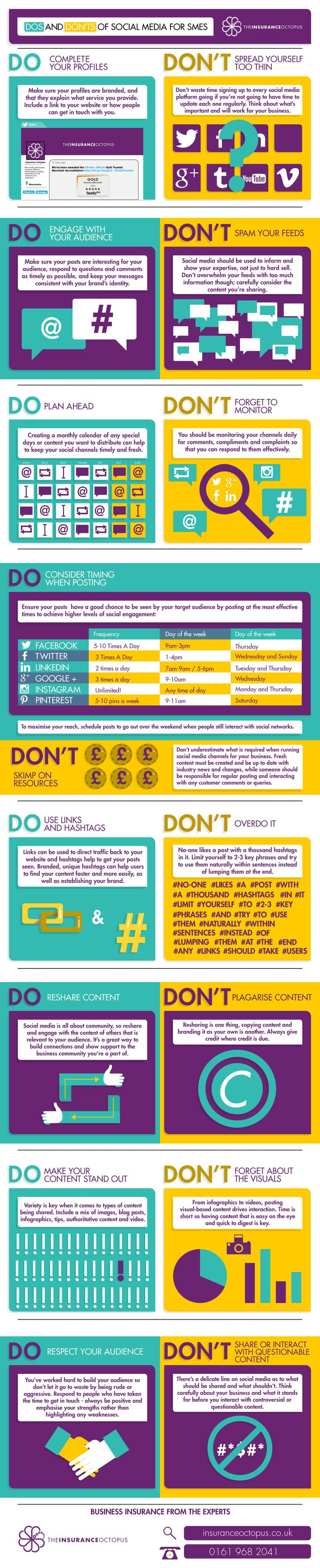 The Dos and Don'ts of Social Media for SMEs. Fabulous dos and don'ts of social media in a handy infographic.  #Infographic #Smallbusiness #NonProfits
