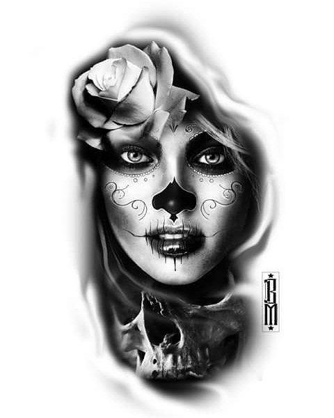 #sugar #face #rose #skull #Muertos #muerte #womam #women tattoo #design #idea #ink #black #realismtattoo