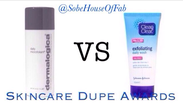 @SobeHouseOfFab Skincare Dupe Awards Dermalogica Microfoliant vs Clean  Clear Exfoliating Daily Wash  {{  Skincare Dupes / Dermalogica Dupe }}