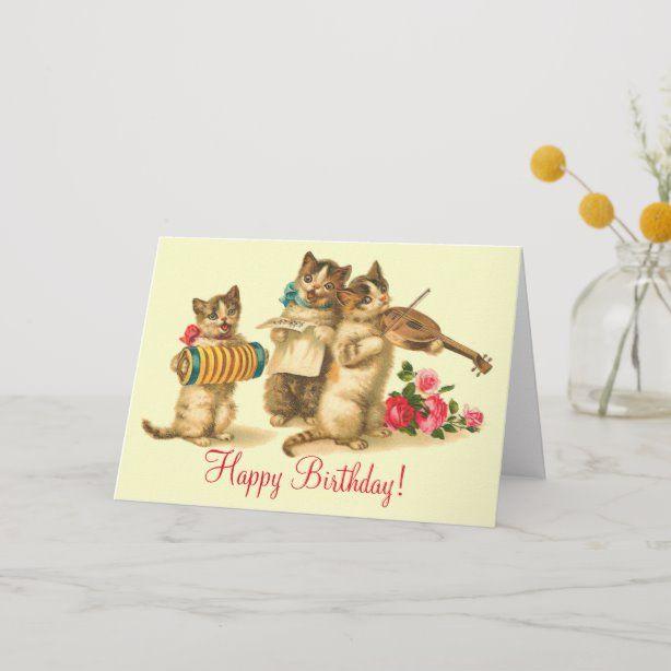 Vintage Funny Cats Singing Happy Birthday Card Singing Gift Idea Cat Birthday Card Vintage Birthday Cards Happy Birthday Card Funny