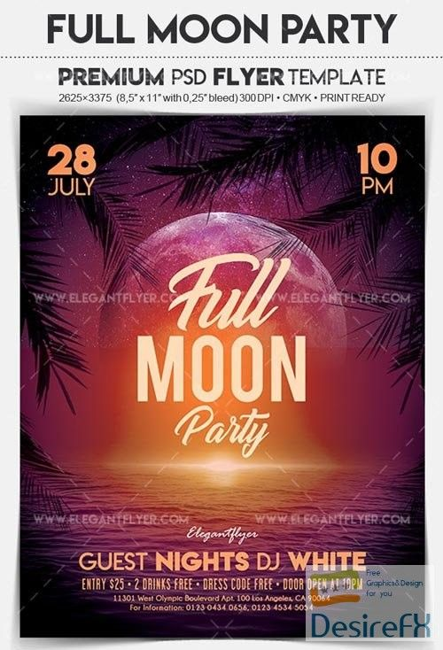 full moon party v2 2018 flyer psd template flyer template
