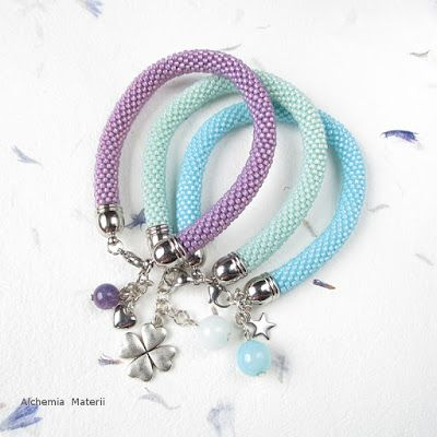 Beads crochet pastel bracelets with amethyst,jade and agate.