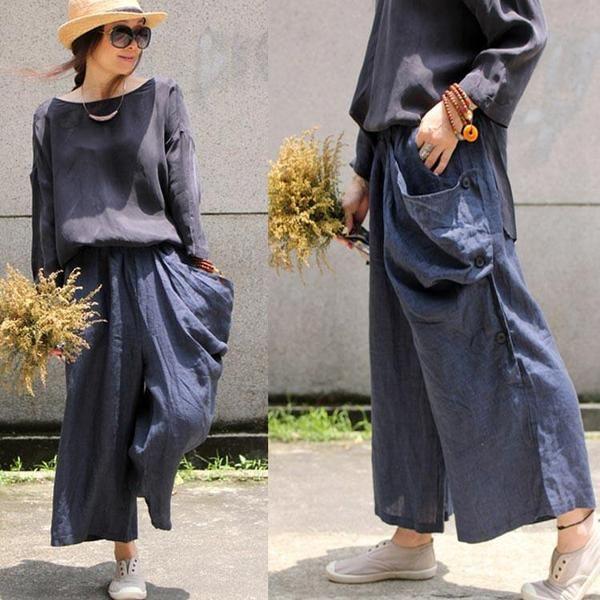 Women Cotton Linen Autumn Pants
