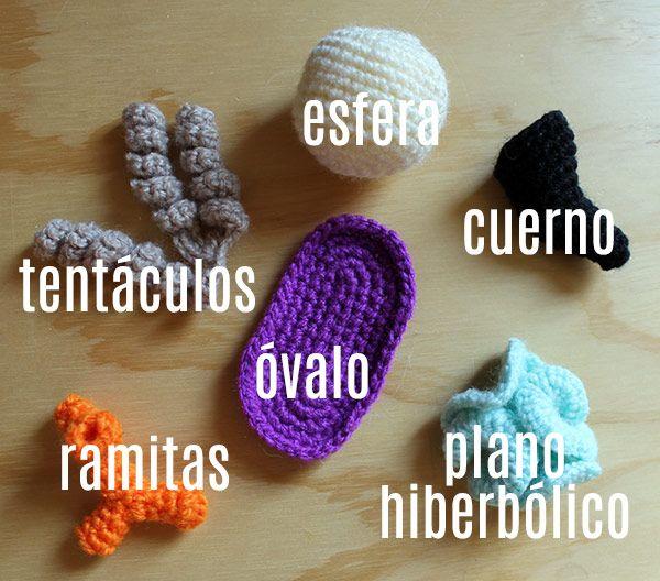 Taller de formas básicas a crochet: esfera, cuerno, plano hiperbólico, óvalo, ramitas y tentáculos.