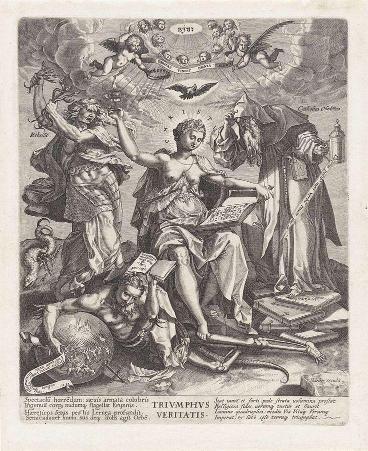 Johannes Wierix | Triomf van de Waarheid, Johannes Wierix, Anonymous, Maerten de Vos, 1593 | Waarheid vertrapt de personificatie van het Bedrog (half mens, half skelet). In haar hand houdt ze een brandende olielamp, op haar schoot een opengeslagen bijbel. Ze is geflankeerd door de vrouwelijke personificatie van Opstand (Rebellio), met slangen in haar handen, en de mannelijke personificatie van Katholieke Gehoorzaamheid (Catholica Obedientia). Boven hen de duif van de Heilige Geest. Twee…