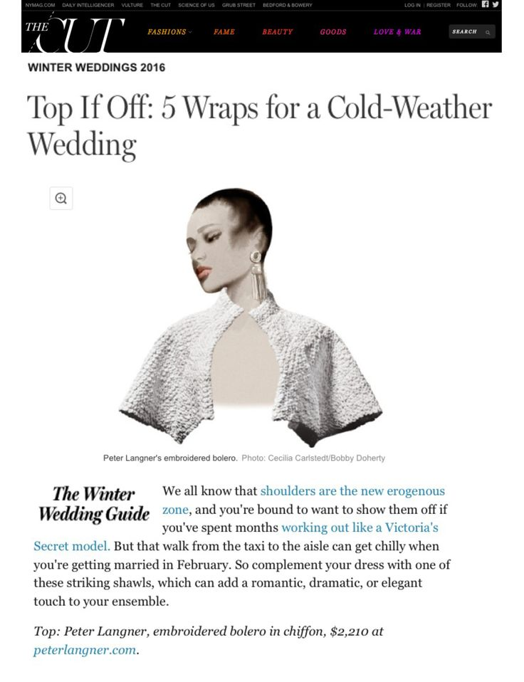 "New article online about #PeterLangner! Thank you Nymag.com for the article about our Couture Bolero ""San Miguel"" - For any further queries please contact showroom@peterlangner.com // info@peterlangner.com"