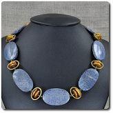 Naszyjnik koral niebieski, perła, hematyt