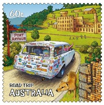 Port Arthur, Tasmania, Road Trip Australia 60c stamp (I'm from Port Arthur, TX- cool!)