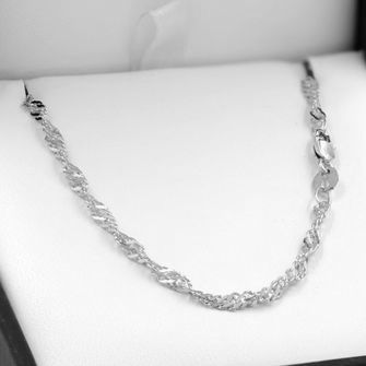 55cm Sterling Silver Singapore Rope Chain Necklace - SN-SN40