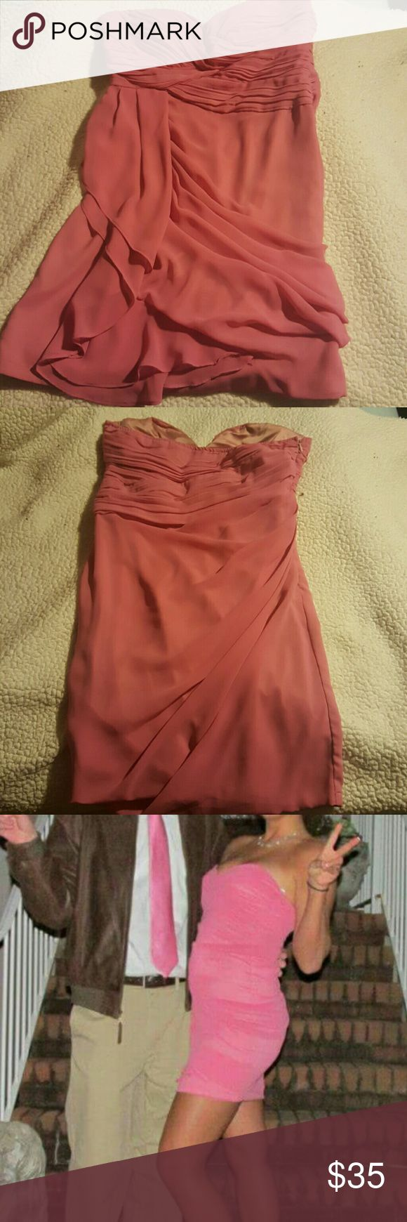 Formal Dress Very Sexy Pink Dress worn once to a Sadie Hawkins Dance. Perfect for a Valentine or Sadies dance. The color is Mauve but the dark skin and the flash makes the dress look bright pink in the model photos. It looks great on. Minuet Dresses Prom