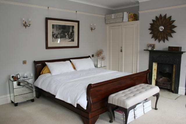 Bedroom - walls Farrow & Ball Cornforth White, woodwork Slipper Satin