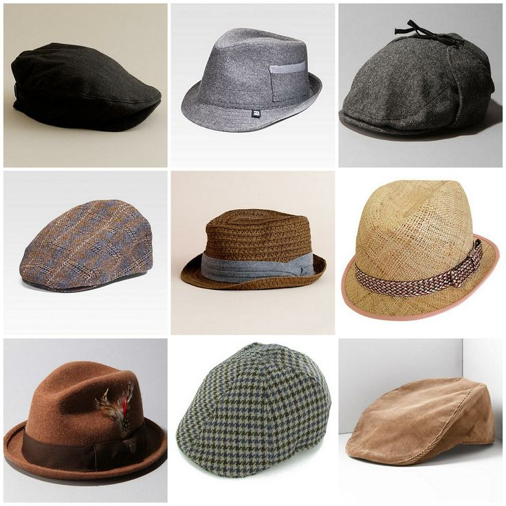 Different Hat Styles: Fedora+hats_driver+caps_newsboy_groom+style+postcards